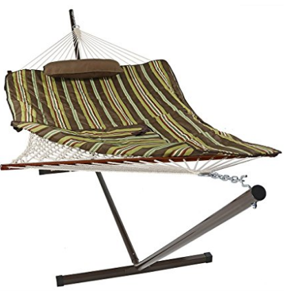 sunnydale desert stripe rope hammock with stand pad and pillow 144 inch long x 55 inch wide best 2 person hammock with stand   hammocks adviser  rh   hammocksadviser