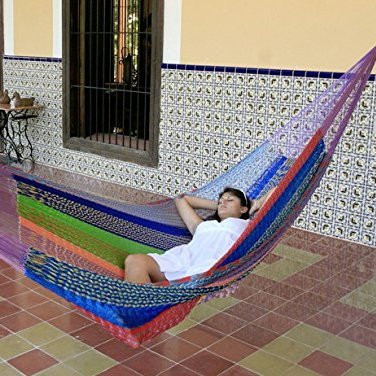 sunnydaze portable hand woven 2 3 person mayan hammock jumbo size multi color 770 pound capacity best camping hammock for big guys   hammocks adviser  rh   hammocksadviser